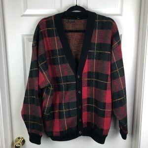 Structure Red Plaid Wool Cardigan Grandpa Sweater